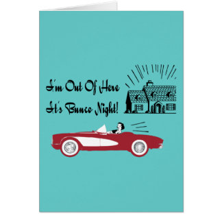 Retro and Vintage Bunco Red Convertible Greeting Card