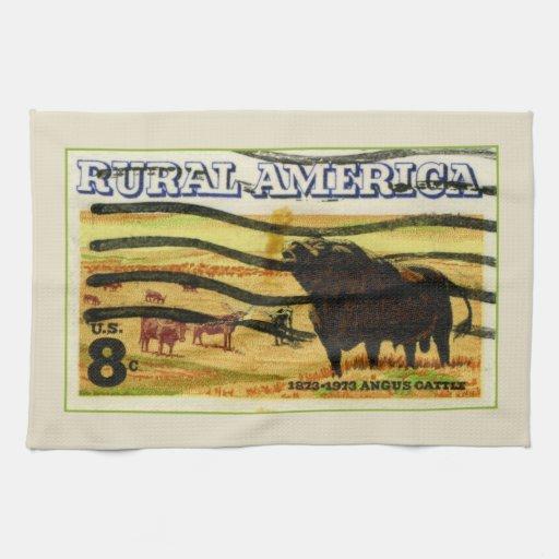 Retro Angus Cattle Kitchen Towel