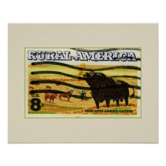 Retro Angus Cattle Poster