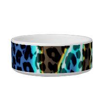 Retro animal print texture of leopard (blue aqua) bowl