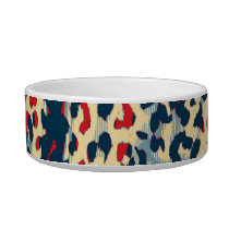 Retro animal print texture of leopard (blue red) bowl