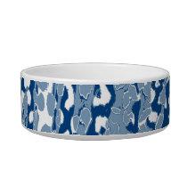Retro animal print texture of leopard (blue white) bowl