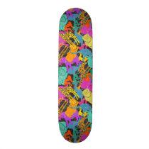 Retro Animal Silhouettes Pattern Skateboard Deck
