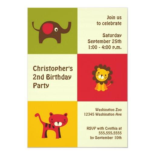Retro animals modern boy birthday party invitation