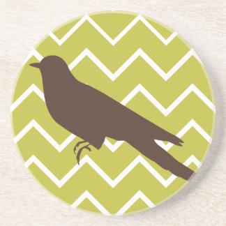 Retro Animals on Chevrons - Bird Coaster