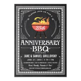Retro Anniversary BBQ Invitations Chalkboard