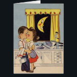 """Retro Anniversary Greeting Card<br><div class=""""desc"""">Vintage / Retro Anniversary greeting card.  Adorable couple sharing a kiss while washing dishes together!  Very romantic and tender greeting card!  Perfect for any loving couple!</div>"""