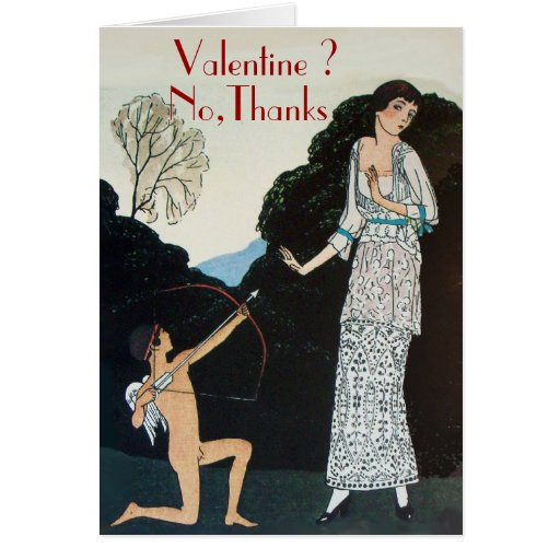 RETRO ANTI VALENTINE'S DAY  RED WAX SEAL MONOGRAM CARD