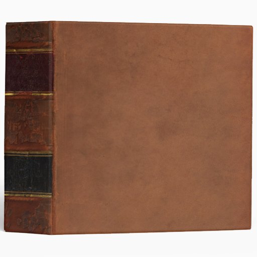 Retro Antique Book, faux leather bound brown Binder