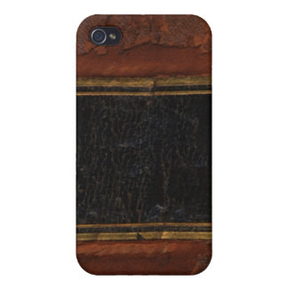Retro Antique Book, faux leather bound brown iPhone 4/4S Covers