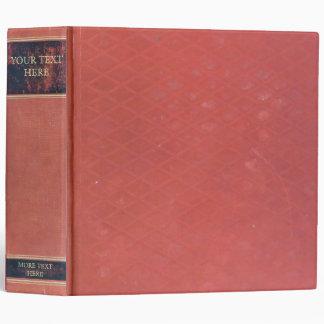 Retro Antique Book: Old red worn & vintage cover Vinyl Binders