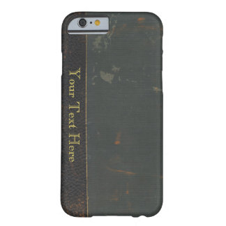 Retro antique canvas book cover, leather bound barely there iPhone 6 case