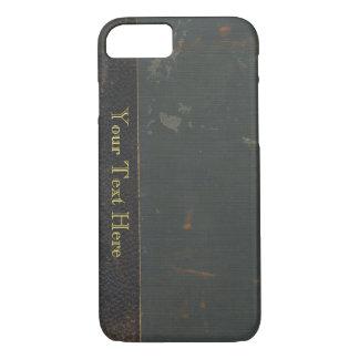 Retro antique canvas book cover, leather bound iPhone 7 case