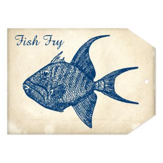Retro Antique Paper Blue Fish Fry Card
