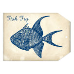Retro Antique Paper Blue Fish Fry 5x7 Paper Invitation Card