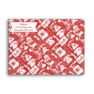 Retro  Any Color Telephone Pattern Envelope