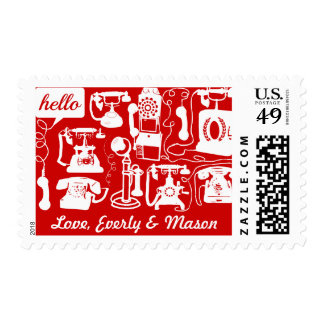 Retro  Any Color Telephone Pattern Postage Stamps