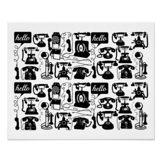 Retro  Any Color Telephone Pattern Poster