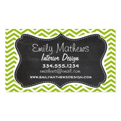 Retro Apple Green Chevron Stripes; Chalkboard look Business Card Template