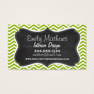 Retro Apple Green Chevron Stripes; Chalkboard look Business Card