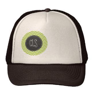 Retro Apple Green Chevron Stripes; Chalkboard look Trucker Hat