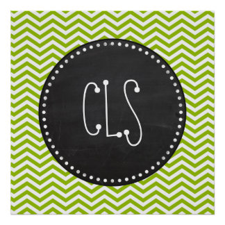 Retro Apple Green Chevron Stripes Chalkboard look Posters