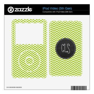 Retro Apple Green Chevron Stripes; Chalkboard look Skins For iPod Video