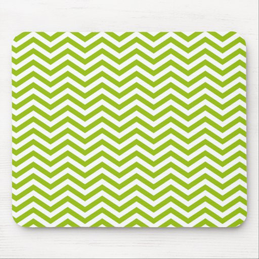 Retro Apple Green Chevron Stripes Mouse Pad