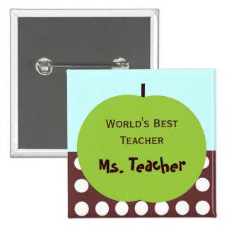 Retro Apple Persoanlized Teacher Gifts Pinback Button