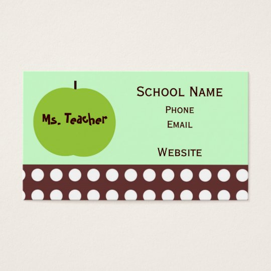 Retro Apple Teacher Business Cards