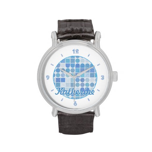 Retro Aqua and White Geometric Pattern Wrist Watches