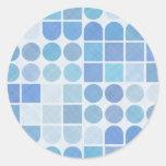 Retro Aqua and white patterns Sticker