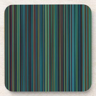 Retro aqua blue brown green stripe set of coasters