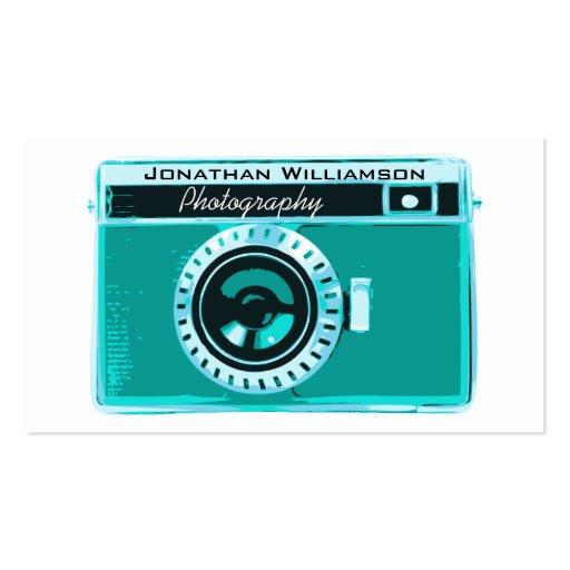Retro Aqua Camera Photography Business Cards