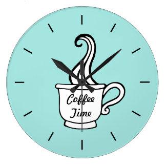 Retro Aqua Diner Coffee Kitchen Wall Clock