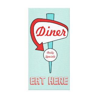 Retro Aqua Diner Sign Kitchen Wall Decor Canvas