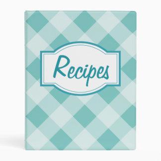 Retro Aqua Gingham Kitchen Recipe Binder Gift