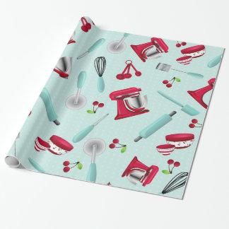 Retro Aqua Kitchen Gadget Gift Wrap Paper