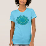 Retro Aqua Mandala Abstract 70s Vintage Look Tee Shirts