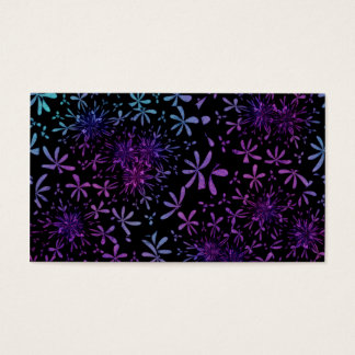 Retro Aqua Purple Floral Blossoms Business Card