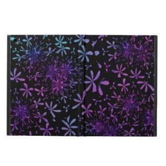 Retro Aqua Purple Floral Blossoms Case For iPad Air