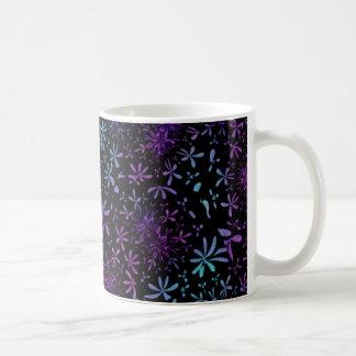 Retro Aqua Purple Floral Blossoms Coffee Mug
