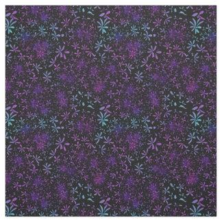 Retro Aqua Purple Floral Blossoms Fabric