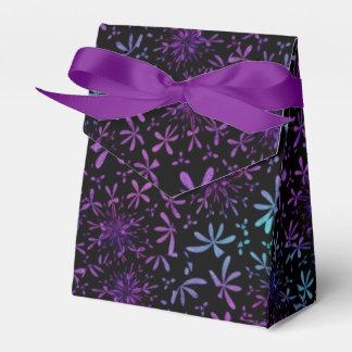 Retro Aqua Purple Floral Blossoms Favor Box