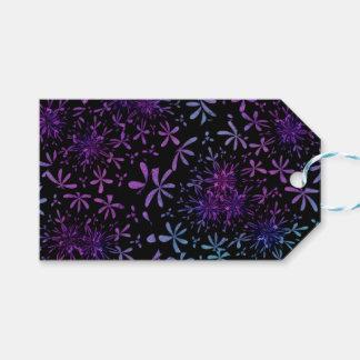 Retro Aqua Purple Floral Blossoms Gift Tags