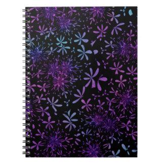 Retro Aqua Purple Floral Blossoms Notebook
