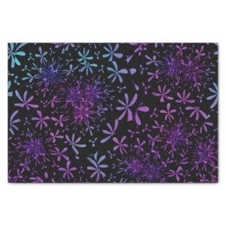 Retro Aqua Purple Floral Blossoms Tissue Paper