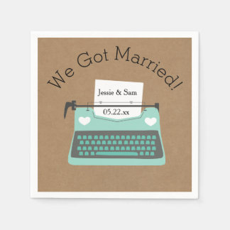 Retro Aqua Typewriter Wedding Paper Napkins