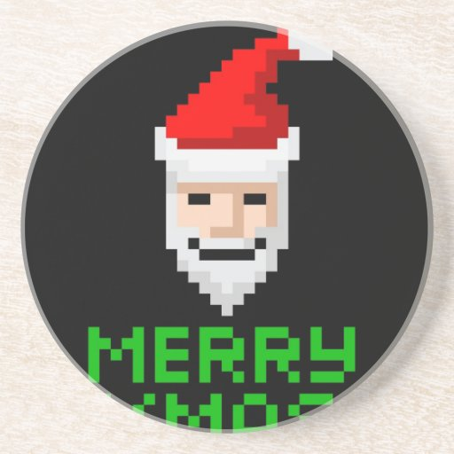 Retro arcade pixel art Santa Drink Coaster