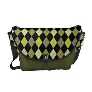 Retro Argyle Camo Color Olive Green & Khaki Commuter Bag